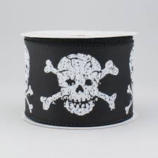 skull ribbon 2 5 black satin skull cross bones ribbon 10 yards zxm bs57