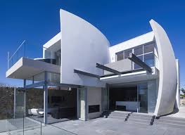 contemporary concrete home designs with outdoor glass fence and