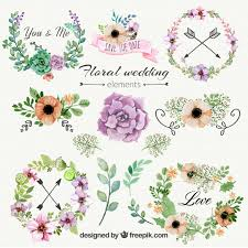 floral wedding ornaments vector free
