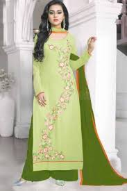 salwar kameez pista green color georgette salwar kameez online