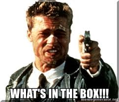 Whats In The Box Meme - what s in the box what s in the box brad pitt meme generator