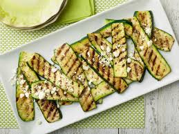 grilled zucchini with herb salt and feta recipe serving plates