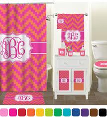 Pink And Orange Curtains Bathroom Accessories Bathroom Magnificent Grey Chevron Curtains