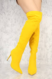 s yellow boots yellow slouchy pointy toe the knee high heel ami clubwear