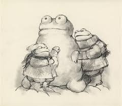 frog and toad building a snowman pencil study and finished drawing