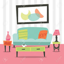 living room furniture ta a illustration of chic retro living room interior with furniture