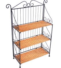 3 tier wicker and iron bookcase in bookcases