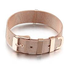 rose gold stainless steel bracelet images Men rose gold stainless steel bracelet cuff belt mesh buckle jpg
