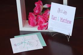 romantic bicycle wedding invitation suite