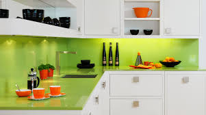 luxury l shaped kitchen cabinet in white come with green lime