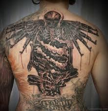 ultra modern gun tattoos for back