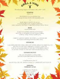 thanksgiving menu grill vine restaurant the westin san