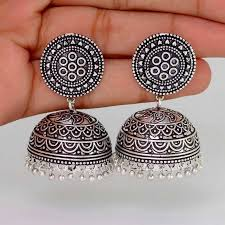 new jhumka earrings buy hot sales amazing new look handmade oxidised silver tone