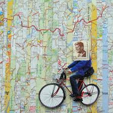 Maps Route by Collage Made From Old Maps Magazine Clippings And Postage Stamps