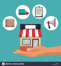 Awning Online Color Background With Hand Holding A Store With Awning And