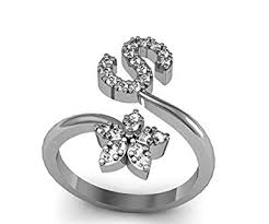 s ring buy jewelscart s letter heart shape cz silver plated
