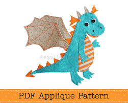 dragon applique pattern pdf cute dragon applique template