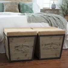 Wood Ottoman Distressed Wood And Burlap Tapered Ottoman Kirklands