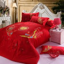 chinese wedding bedding set red dragon bed linens bed sheet set