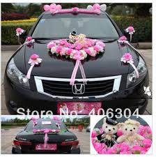 House Decoration Wedding Free Shipping By Ems Pink Wedding Car Flower Decoration With Bear