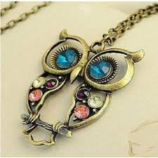 vintage crystal pendant necklace images Hot sale vintage crystal owl pendant necklace collier bijoux retro jpg