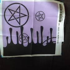satanic baphomet border print lilac fabric mousey housewife