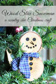wood burining wood slice snowman ornament country chic
