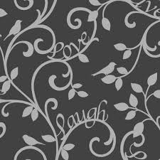 Love Laugh Live Fine Decor Live Love Laugh Scroll Wallpaper Black Silver Fd40287