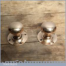 Door Knob Type Reclaimed Pair Of Antique Old Solid Brass Door Knob Handles