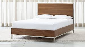 james walnut with stainless steel frame queen bed crate and barrel