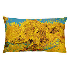 light blue accent pillows van gogh sunflowers yellow light blue accent pillows bwm collection