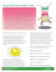 10 best images free kids newsletter templates free preschool