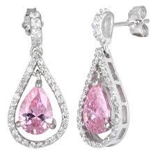 pink drop earrings sterling silver pink drop cz earrings