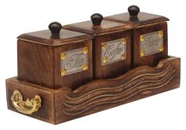 wholesale handcrafted wooden antique look tea coffee sugar 3 bulk wholesale handcrafted wooden antique look tea coffee sugar 3 canister set in wooden tray container with lids kitchen