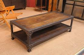 industrial coffee table with drawers french vintage industrial two tiered coffee table with wood top