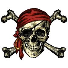 pirate skull and crossbones bandana and an earring stock vector