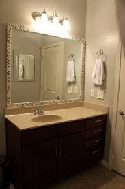 Decorating Bathroom Mirrors Ideas by Framed Bathroom Mirror Ideas Wall Mounted White Ceramic Double