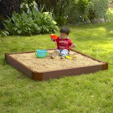 shop frame it all 48 in x 48 in brown square composite sandbox at
