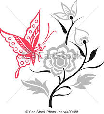 vector of butterfly illustration with flower design csp4499188