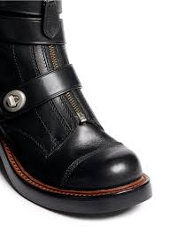 moto boots coach u0027zip moto u0027 shearling leather buckle boots in black lyst