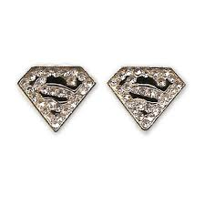 superman earrings superman earrings gold plated cubic zirconia