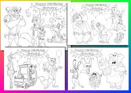 zootopia birthday party coloring pages activity