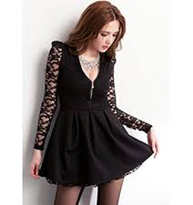 Long Sleeve Black Fit And Flare Dress Fit And Flare Dresses Dress Lace