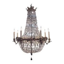 Crystal And Bronze Chandelier Bronze And Crystal Basket Chandelier With Art Nouveau Detail At
