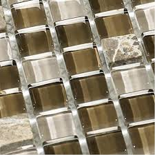 Glass Tile Backsplash Stone  Glass Blend Mosaic Tiles Bathroom - Stone glass mosaic tile backsplash