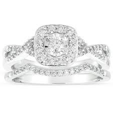 wedding rings sets infinity 1 carat diamond wedding ring set in white gold