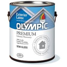 shop olympic white semi gloss latex exterior paint actual net
