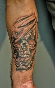 ripped skin skull on arm