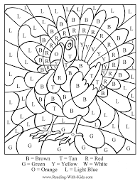 attractive thanksgiving color by numbers pages printables letter