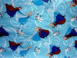 glittered elsa anna olaf cotton fabric